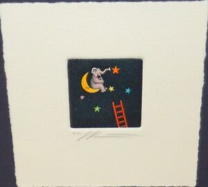 ELEPHANT ON THE MOON HAND SIGNED INTAGLIO ETCHING