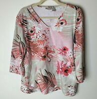 Chico's Women's Top Size 3 (XL, 16) V-Neck Floral 3/4 Sleeves White Pink Red Tan