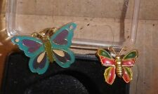 "Vintage Butterfly Japan 1970s ""tin"" style and turquoise Enamel Insect Brooch lot"