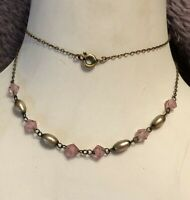 1930s Pink Glass Necklace Metallic Beads Delicate Vintage Jewellery Jewelry Old