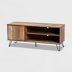 50'' Iver 1 Door Wood Tv Stand Rustic Oak/Black - Baxton Studio