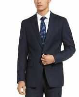 Calvin Klein Mens Blazer Blue Size 36 Short Stripe X Slim Fit Wool $450 #126