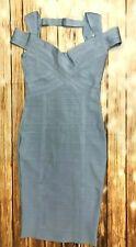Herve Leger  Bandage Dress Off Shoulder Knee Length Baby blue A980 *M