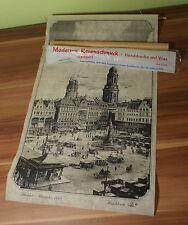 Serigrafie Handdruck auf Vlies Made in GDR Dresden Altmarkt 1929 57x31cm (I6)
