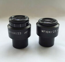 Pair WF10X / 23mm Microscope Diopter adjustable Eyepiece w/ Eyeguards 30mm Tube