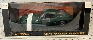 AutoArt 1:18 Ford Mustang GT390 Steve McQueen Bullitt Green Diecast Model #72811