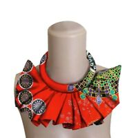 Women Ankara Choke Necklaces African Print Fabric False Collar Handmade Jewelry