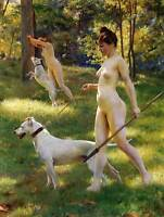 JULIUS LEBLANC STEWART NYMPHS HUNTING 1898 OLD MASTER ART PAINTING PRINT 1788OM