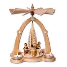 Lumino da tè-piramide 27cm nascita di Cristo mangiatoia interamente a mano dal Erzgebirge
