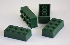 4x Lego® Steine Bausteine Bricks Pieces Parts No 3001 2x4 dunkelgrün  NEU NEW