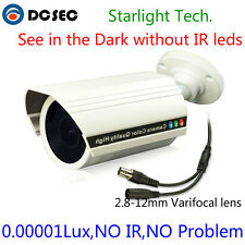 Sony Chipset 0.00001lux Starlight analog CCD Camera LOW LUX Varifocal bullet cam