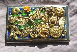 Business card case, hand decorated, one-of-a-kind colors/designs, 3 available