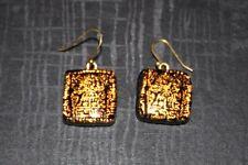 Woman's Black & Gold Aztec Design Square Peirced Earrings huggie