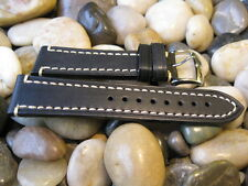 24 mm Hirsch LIBERTY Black Distressed Genuine Leather Watch Band! strap aviator