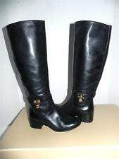 Michael Kors Hamilton Black Gold-tone Logo Leather Riding Knee High Boot 5.5