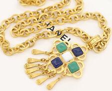 CHANEL Multi Stone Tassel Fringe Necklace Gold Tone Vintage w/BOX #998