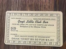 Guy's Little Club Bar Birthplace Of The Moscow Mule Drink Ticket N. Las Vegas Nv