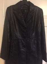 Kenneth Cole Reaction Black Leather Coat - Women's Size Medium