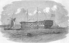 TURKEY. Hospital ship Seraglio, Istanbul, antique print, 1854