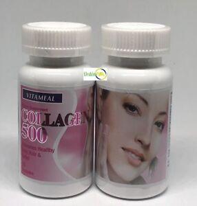 Collagen 500 mg 60 Cap Colageno Vitamin Elastin Colageno Anti aging Skin Control