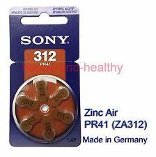 6pcs x Sony 312 ZA312 PR41 Zinc Air hearing aid batteries German made FREE ship