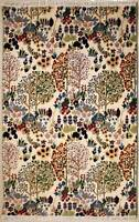 Rugstc 4x6 Senneh Pak Persian Ivory  Rug, Hand-Knotted,Floral with Silk/Wool