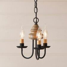 Country new 3 arm BELLVIEW  pearwood wood chandelier / nice
