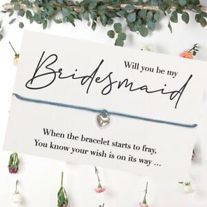 Will You Be My Bridesmaid Maid Honour Flower Girl? Wish Bracelet Gift Proposal