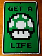GET A LIFE Green Mushroom Video Game Sign Entertainment Room Home Decor - NEW