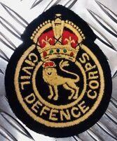 Genuine British Civil Defence Corp Vintage Kings Crown Badge / Patch x 2