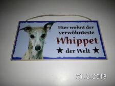Türschild Whippet, Tierschild Hund aus Holz, Holzschild, Wandschild