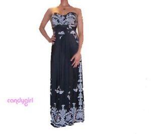 New black bandeau maxi dress with white print
