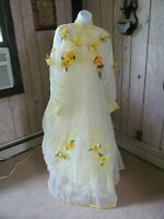 Vintage Yellow Flower Halloween Gaudy Yellow Wedding Gown S
