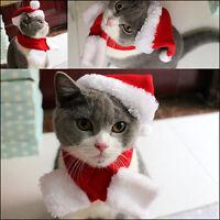 2PCS Pet Cat Dog Santa Hat & Scarf Christmas Xmas Red Holiday Costume Apparel UK
