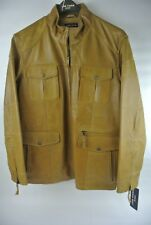 JOE FARIS - DETROIT - MEN'S LEATHER JACKET - MOTOR CITY DESIGN - XL 1/2 - CAMEL