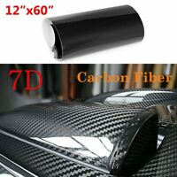 "7D Carbon Fiber Vinyl Car Wrap Sheet Roll Film Sticker Decal Waterproof 12""x60"""