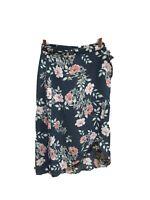 Leith Women Skirt Large NWOT Floral Wrap Skort Side Zip Aline