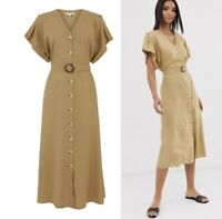 OASIS Linen Blend O-ring Belted Midi Shirt Dress sizes 6-16  £19.99 / £21.99