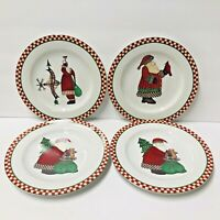 "Set of 4 Sakura Debbie Mumm Magic of Santa 8"" Salad Dessert Plates"