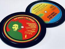 More details for bob marley. 2 vinyl record label coasters. natty dread. no woman no cry. reggae