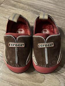 EUC CROCS Dawson Slip On Burnt Red w/Brown Suede Fur Sole Shoes Infant Size 4