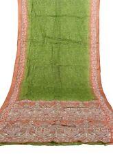 Vintage Indian Saree 100% Pure Crepe Silk Printed Sari 5 Yard Fabric Green Color