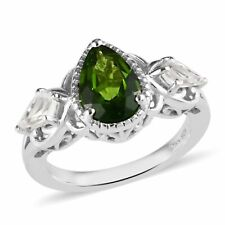 1.75ctw Russian Diopside & White Topaz Ring in Platinum/Sterling  SZ 8  #JR280