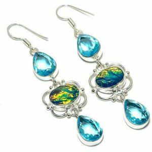 """Triplet Fire Opal, Blue Topaz Gemstone Silver Jewelry Earring 3.1"""" KE18551"""