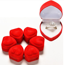 Velvet Red heart Engagement Propose Wedding Ring Necklace Jewellery Gift Box 1pc