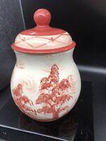 Gail Pittman Red Toile Cookie Jar. Beautiful rare Pattern.