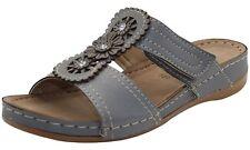 Womens Slip on Mules Slider Cushioned Ladies Low Wedge Heel Comfort Sandals Shoe Montgo-grey UK 6 / EU 39