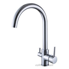 New Solid Brass Kitchen Sink 3 Way Mixer Tap Rotate Pure Drinking Water Faucet