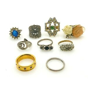 Vintage Costume Jewelry Ring Lot 9 Pieces Rhinestones Lucite Big and Small