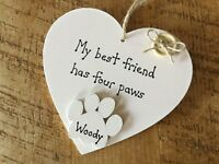 Personalised Dog Lover Gift Hanging Heart Sign Xmas Birthday Handmade Plaque